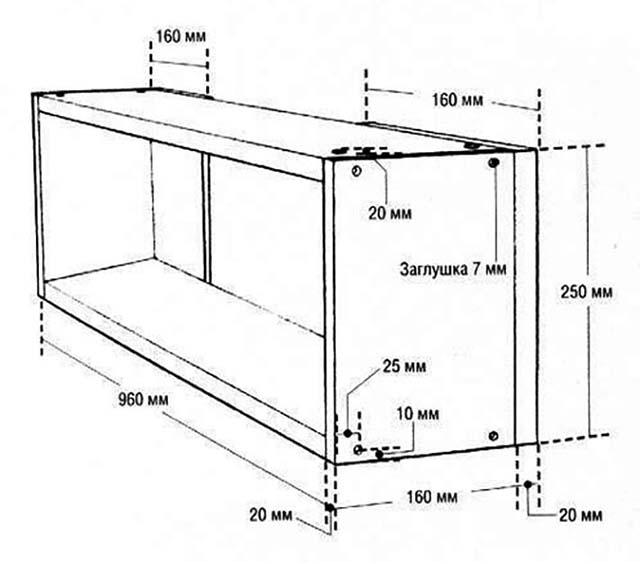 Эскиз шкафчика с размерами