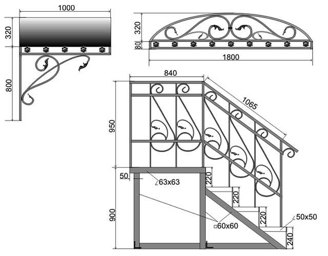 Монтажный чертеж железных перил и навеса