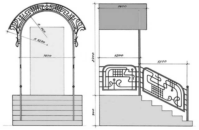 Схема с размерами стального крылечка