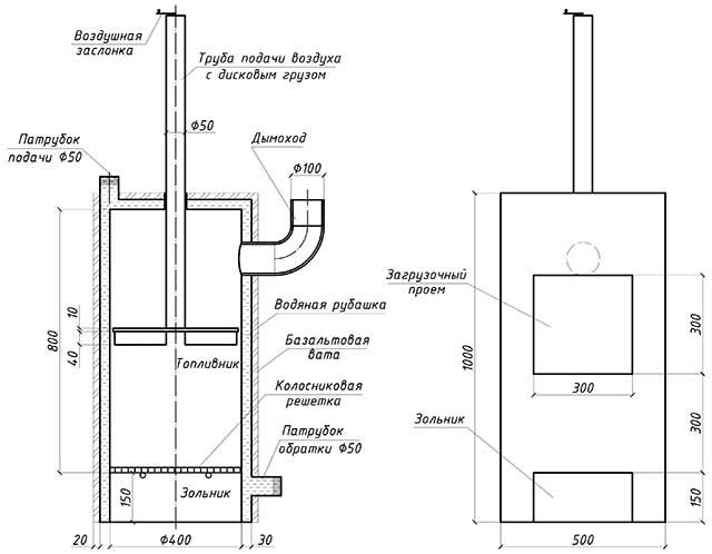 Схема котла верхнего горения