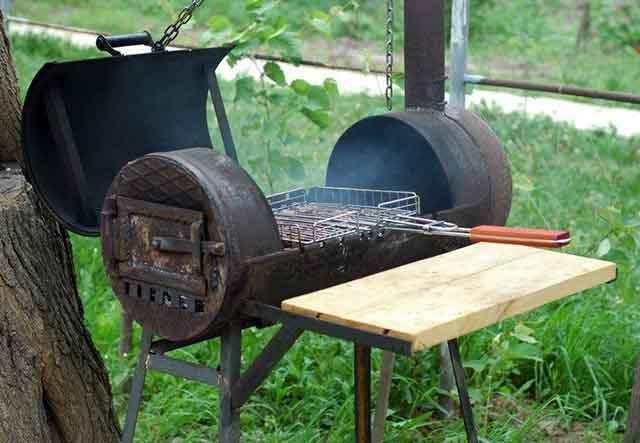 Готовка барбекю на печке из баллона