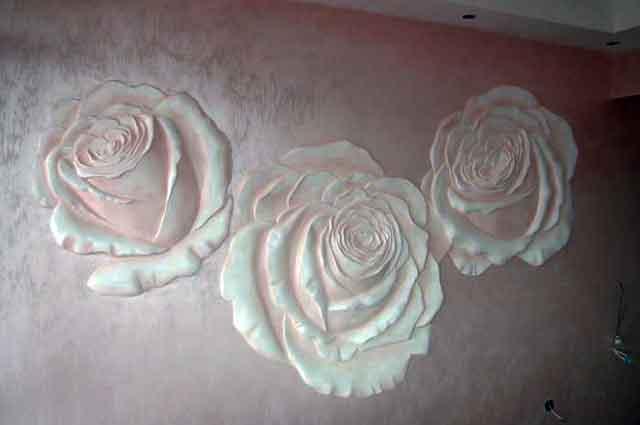 Объемная картина из 3 роз