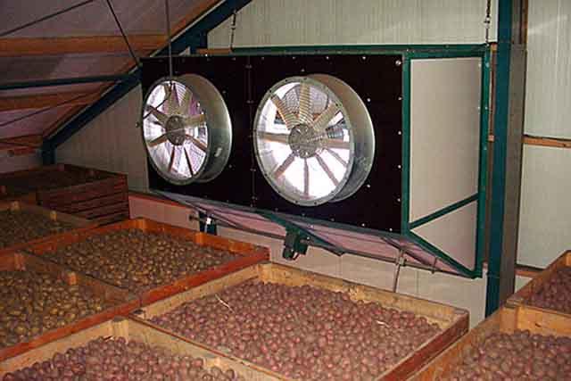 Приточные вентиляторы в подвальном хранилище