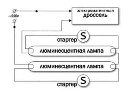 Соединение двух источников света с дросселем
