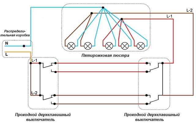 Схема на 2 двойных проходных переключателя