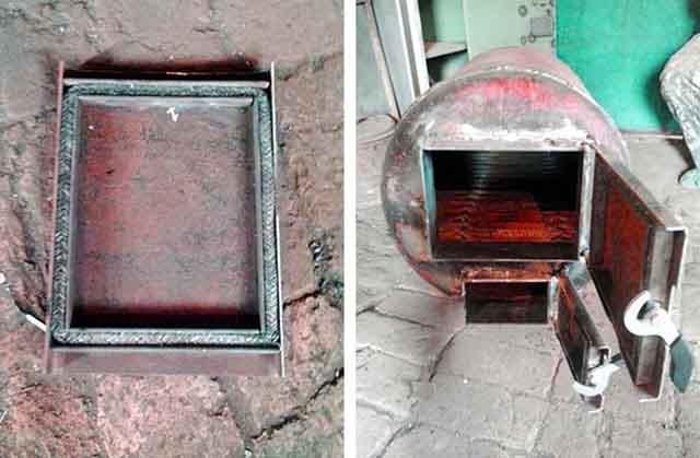 Монтаж двери топливника из железа