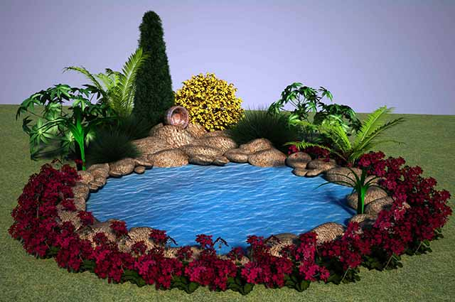 Цветы вокруг мини-водоема