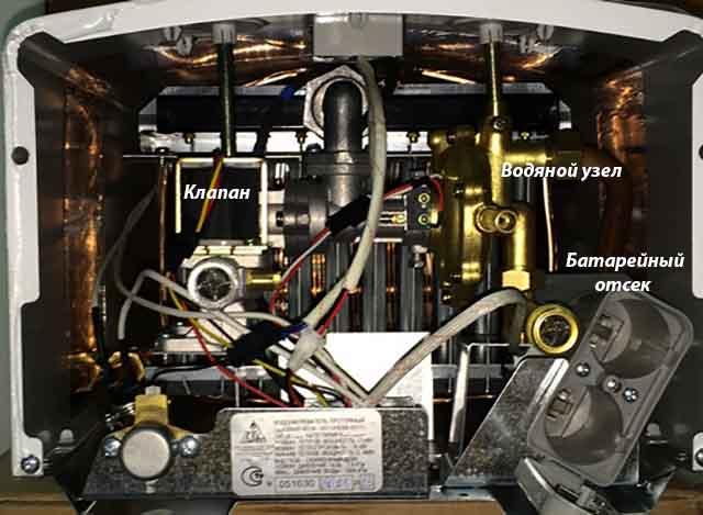 Основные элементы проточного нагревателя