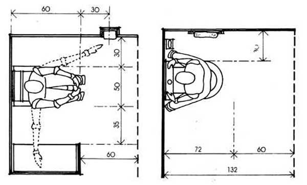 Схема расположения сантехники в туалете