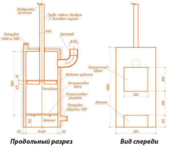 Чертеж теплогенератора с верхней трубой для воздуха