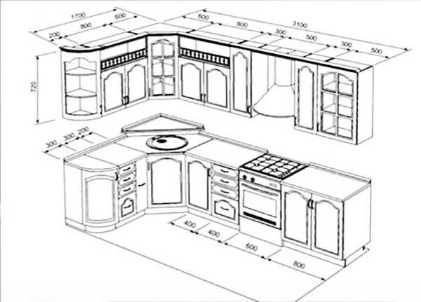 План расстановки кухонной мебели