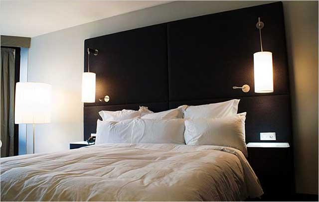 Точки освещения и электропитания в спальне