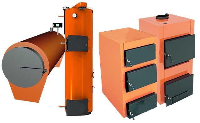 Теплогенераторы разных типов на дровах и угле