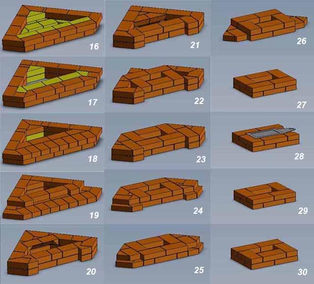 Кладочная схема очага ряды 16-30