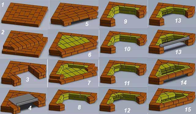 Схема порядовой кладки 1-15 ярусы