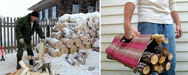 Рубка дров для загрузки печи