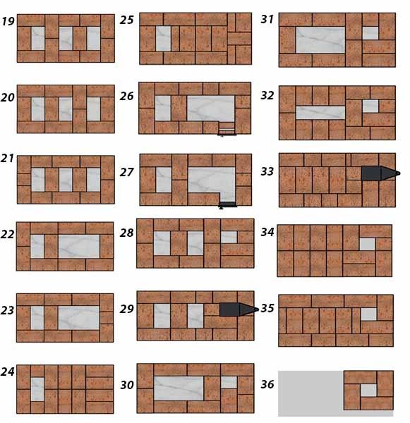 Схема кладки ряды 18-35