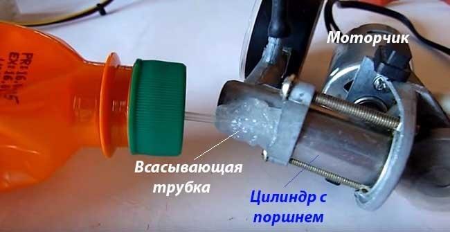 Подключение всасывающей трубки