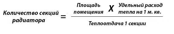 Формула расчета числа радиаторных секций
