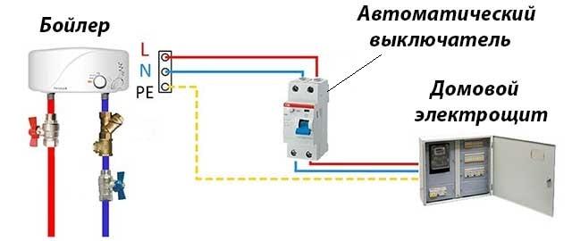 Электрическая схема подключения нагревателя ГВС