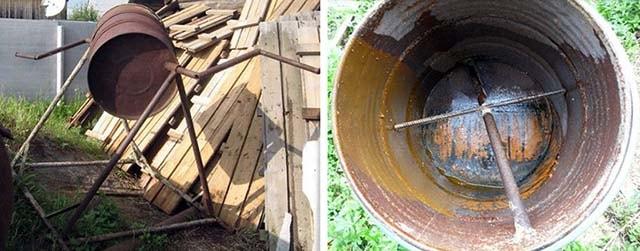 Ручной смеситель бетона из бочки