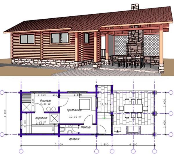 Кухня и баня под одной крышей